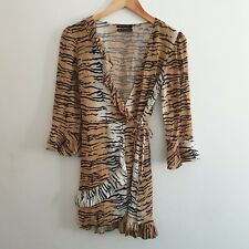 Urban Outfitters Women Size XS Brown Black Tiger Animal Print Wrap Dress Casual
