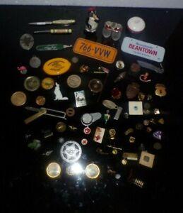 Vintage Junk Drawer Lot Advertising, Lapel Pins, Salt Pepper Shakers, Toys more