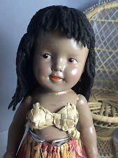 "Antique Composition Ideal Shirley Temple Marama Doll 13"". Aloha! C"