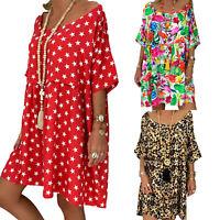 Plus Size Women Retro Floral Short Sleeve Mini Dress Loose Kaftan Tunic Dress