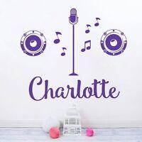 Personalised Name Girls Wall Art Sticker - Popstar, X Factor, Singer, Karaoke, M