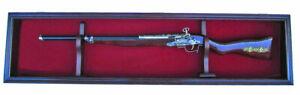 Gun Display Case Cabinet Wall Mount Rifle Shotgun Rack Lockable Red Felt