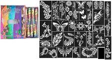 12 Golecha glitter henna color Quick Dry tatoo cone Body Art+32 stencil set free