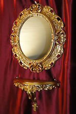Set Gold Wall Mirror + Console M Oval Bracket Baroque Antique 44x38 Hall