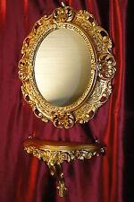 SET GOLD Wandspiegel + Konsole M OVAL Wandkonsole BAROCK Antik  44x38 Flur Möbel