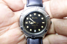 Vintage Bulova Marine Star Men's Wristwatch T7~Leather Band~NEW BATTERY