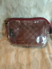 Ralph Lauren Red Plastic Clear Travel Make Up Cosmetic Bag Case Toiletry