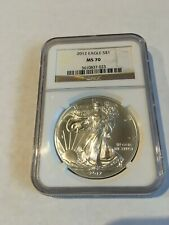 2012 American Silver Eagle NGC MS70 1oz .999 Silver Coin Brown Label