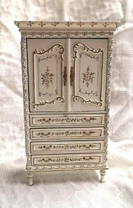 1/12th Scale Dolls House Elegant Hand-Painted Armoire Cabinet, Wardrobe.