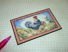 Miniature ROOSTER Welcome or Kitchen Mat (STYLE #2): DOLLHOUSE Miniatures 1/12