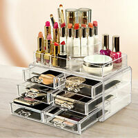 6 Drawer Clear Acrylic Cosmetic Organizer Makeup Case Jewelry Storage Holder Box