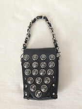Studded Black Leather Mini Bag, Phone, Key Accessories Hand Wrist Clutch.