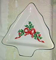 International China Stoneware Christmas Tree Shape Candy/Nut Dish-Holly Ribbon