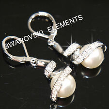 12mm Pearls White Gold Plated Earrings made with Swarovski Crystal Bridal E459