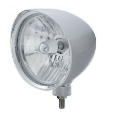 "Chrome 7"" Billet Style ""CHOPPER"" Headlight with Smooth Visor - Crystal H4 Bulb"