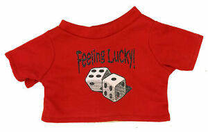 "Lucky Dice Tee Shirt Fits Most 14"" - 18"" Build-a-bear and Make Your Own Stuffed"