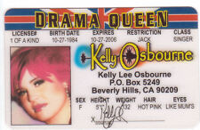 Kelly Osbourne novelty collectors card Drivers License