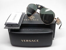Versace VE 2150Q 1002/71 Gold w/Grey Green Sunglasses
