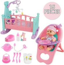 """More details for deao 14"""" 'my first baby doll' 15 pieces play set with baby doll and accessories"""