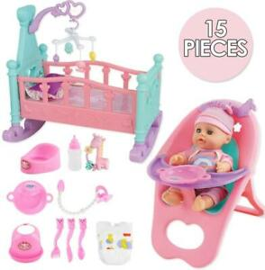 """deAO 14"""" 'My First Baby Doll' 15 Pieces Play Set with Baby Doll and Accessories"""