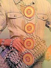 4x Designer Knöpfe Chanel 2,0cm Jacke Kostüm Kleid Hose Logo Rosa Weiss