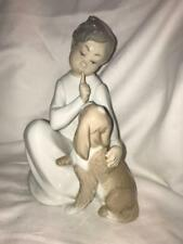 """Lladro #4522 """"Shhh, Quiet Puppy"""" Boy and Dog Porcelain Figurine. With Box"""