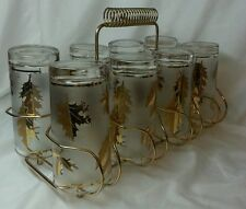 Libbey Gold Leaf Golden Foliage Glass Tumblers Caddy 12oz 22k Vintage Lot of 8