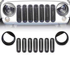 For Jeep Wrangler JK Black Angry Bird Headlight Trim Front Grill Insert Grille