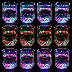12 Pieces LED Cups Light Up Cups LED Flash Light Up Drinking Glasses Fun Light