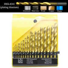 19pcs HSS Titanium Coated Twist Drill Bit Set Auger Drilling Hole Cutter 1-10mm