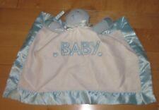 Baby Ganz Security Blanket Lovey Boy White Blue Satin Bear Heart