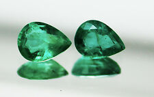 3.03 Ct / 2 Pcs Fine Natural Emerald Pear Pair UnTreated Loose GemStone