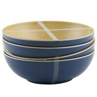 Tommy Bahama Faux Bamboo Wood Grain Blue Outer Bowls Melamine Set of 4