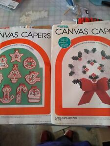 2 vintage Leisure Arts Canvas Capers Xmas Kits wreath and ornaments