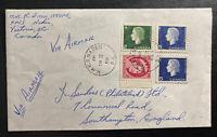 1964 HMCS NADEN Victoria Canada Airmail cover to Southampton England