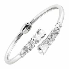 """Created White Sapphire Bypass Cuff Bracelet in Sterling Silver, 7"""""""
