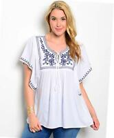Plus size Ivory Retro Embroidery Dolman Blouse Peasant Tunic Shirt Top 1X 2X 3X