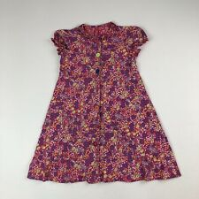 Hanna Andersson Pink Multicolored Floral Button Front A-line Dress Sz 110