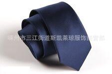 Men's Navy Blue Solid Neck Tie Wedding Plain Necktie Narrow Slim Skinny SK602