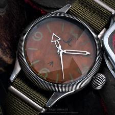 US XXL JL PILOT 's Aviator watch 48mm leather + textile strap japan miyota quarz