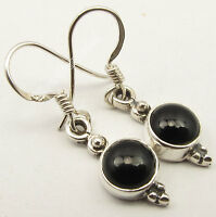 "925 Sterling Silver CABOCHON BLACK ONYX ARTISAN Earrings 1.2"" 2.6 Grams NEW"