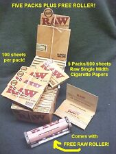 5 packs RAW Classic SINGLE WIDTH Rolling Papers with FREE Hemp Plastic ROLLER