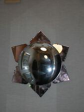 Art Deco Mirror w/ Large Convex Center Glass & Peach Colored Mirror Ornaments