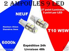 Ampoules Veilleuses 9 LED W5W T10 BLANC XÉNON NEUF RENAULT PEUGEOT VW STYLE AUDI