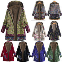 Women Winter Warm Fleece Lined Hooded Jacket Parka Floral Coat Jacket Outwear US