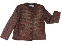 Alfred Dunner Womens Size 12 Petite Multicolor Tweed Jacket Button Front Blazer