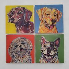 Pier 1 Coasters Square Set Of 4 Portrait Puppies Dogs