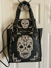 Montana West SUGAR SKULL Concealed Carry TOTE with Wallet - BLACK with White