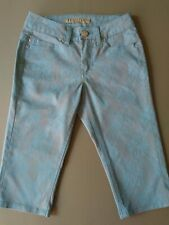 Liverpool Jeans Pants Sz 0 Short Cropped Pedal Pusher Blue Stretch Floral Cotton