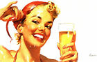 RETRO PINUP GIRL - QUALITY CANVAS PRINT A4 Poster Gil Elvgren Beer lager